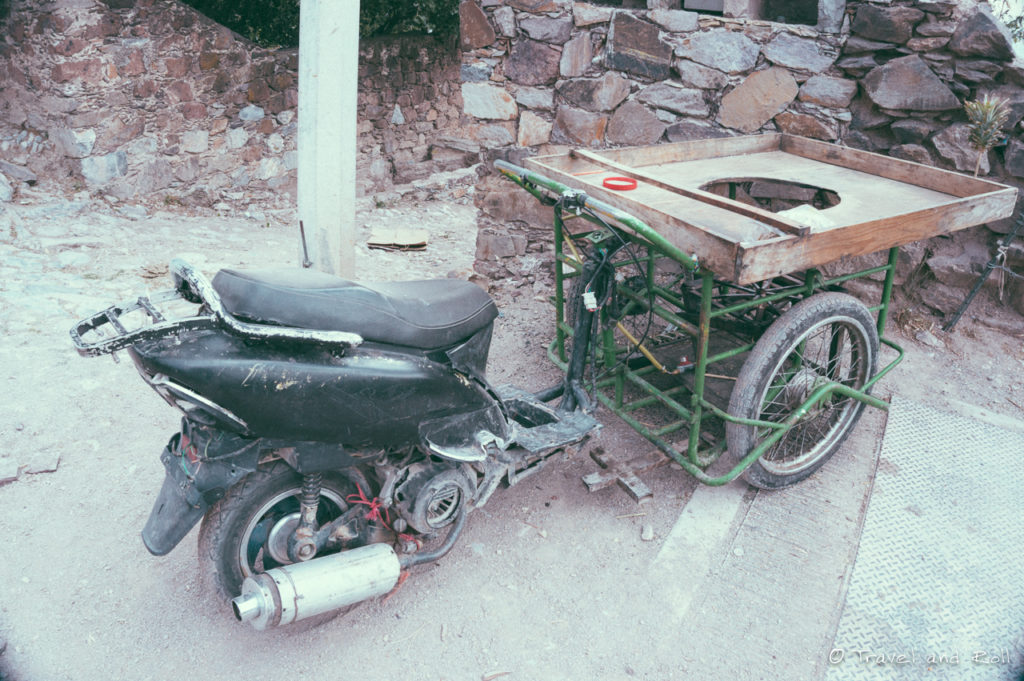 An interesting construction from a scooter with system to cook at the front