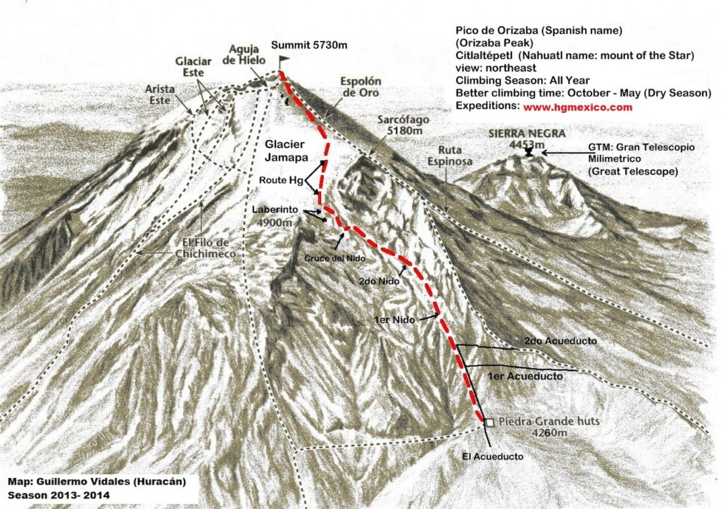Map of the hike to the top