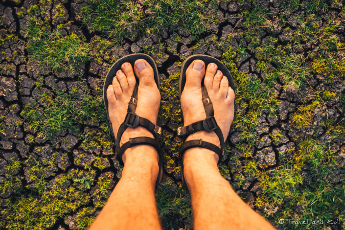 In India. Living in sandals makes us pay attention to the earth