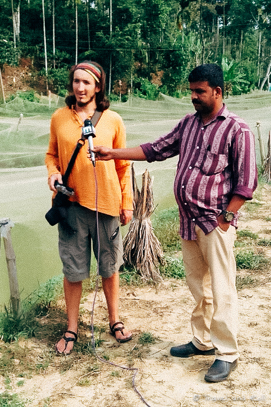 While doing a documentary on organic farming in India, being interviewed by national television