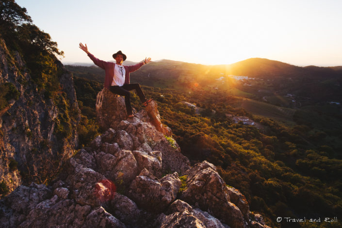Climbing up in La Muela de Algondonales in the south west of Spain, to find the perfect spot for sunset