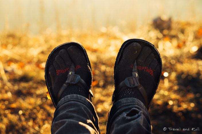 Sunset hike in the French Alps during autumn with merino socks