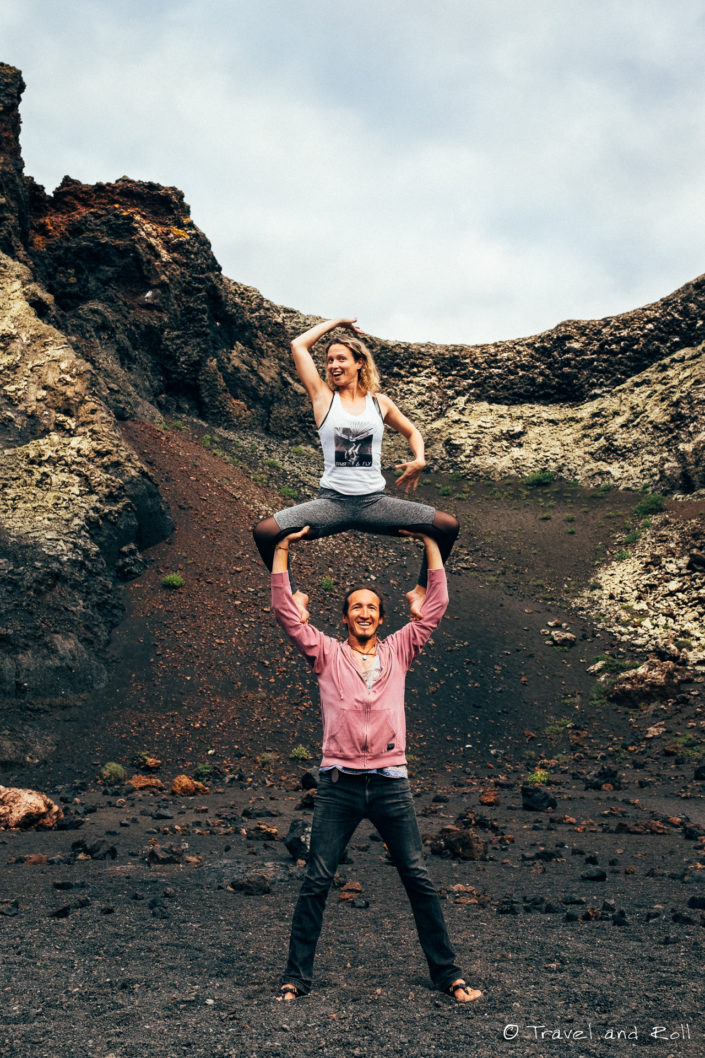 Having fun with acroyogi friend in the volcano