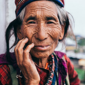 portrait, old, woman, nepal, traditional, langtang, park, trek, buddhism, buddhist