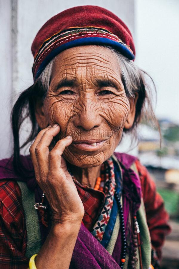portrait, old, woman, nepal, traditional, langtang, park, trek, buddhism, buddhist