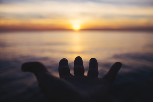 sunset, hand, golden hour, spirituality, meditation, ocean, sailing, boat, sea, transatlantic