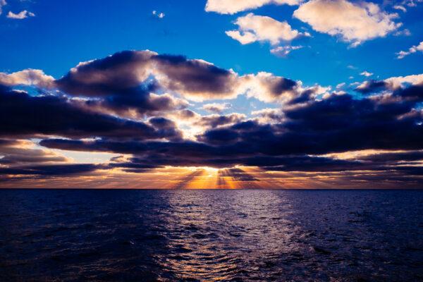 sunset, ocean, sail, sky