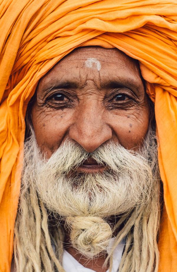 Old, pilgrim, hindu, baba, beard, portrait, orange, soul