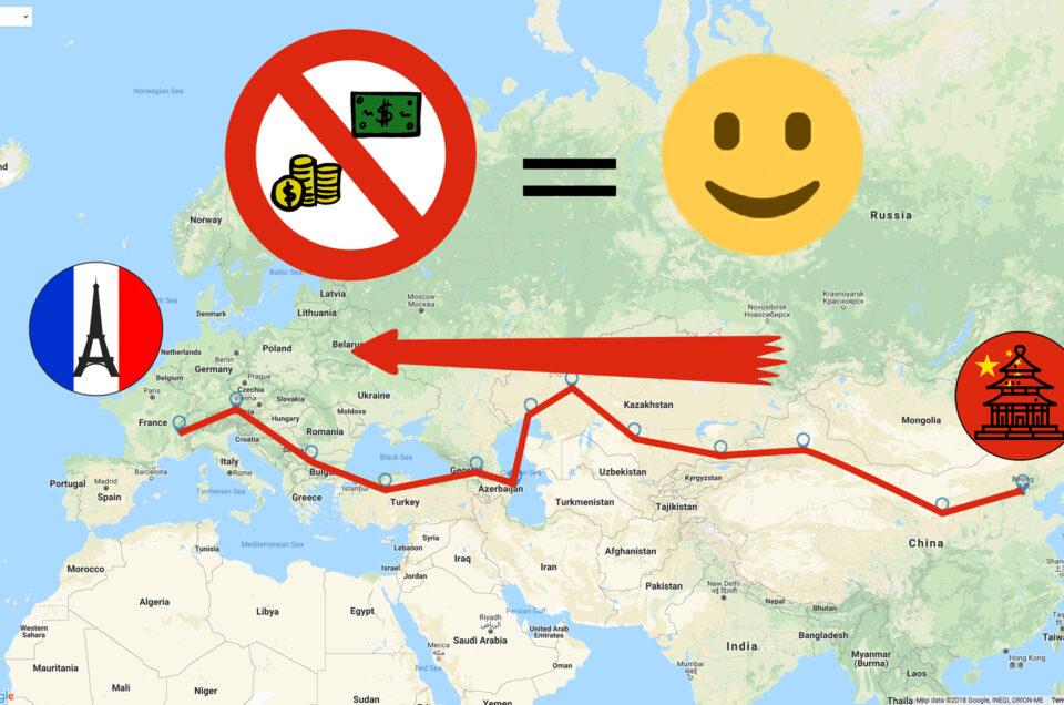 The map from Beijing to Paris without money